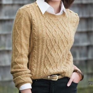 talbots 3/4 sleeve cable knit pullover